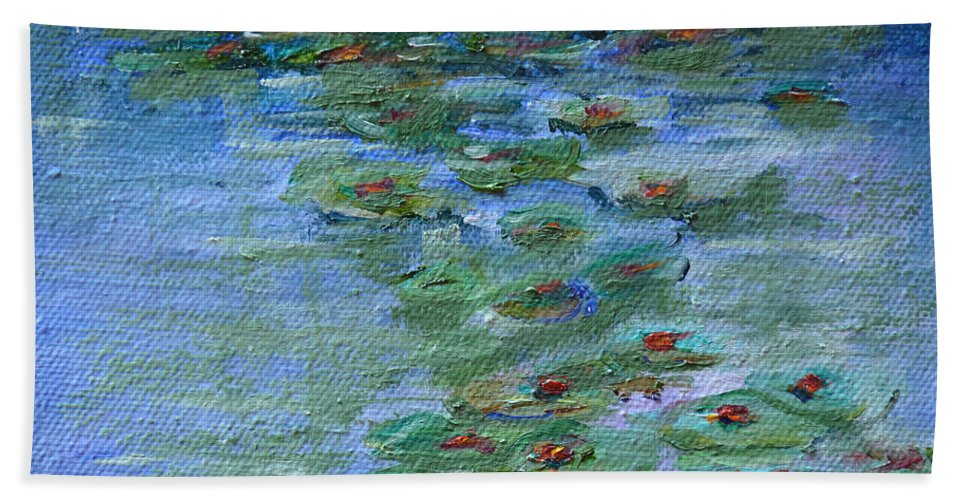 Lily Pad. Blue Beach Towel featuring the painting Lily Pad by Patricia Caldwell