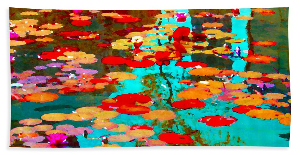 Water Lilies Beach Towel featuring the painting Lily Pads And Koi Colorful Water Garden In Bloom Waterlilies At The Lake Quebec Art Carole Spandau by Carole Spandau