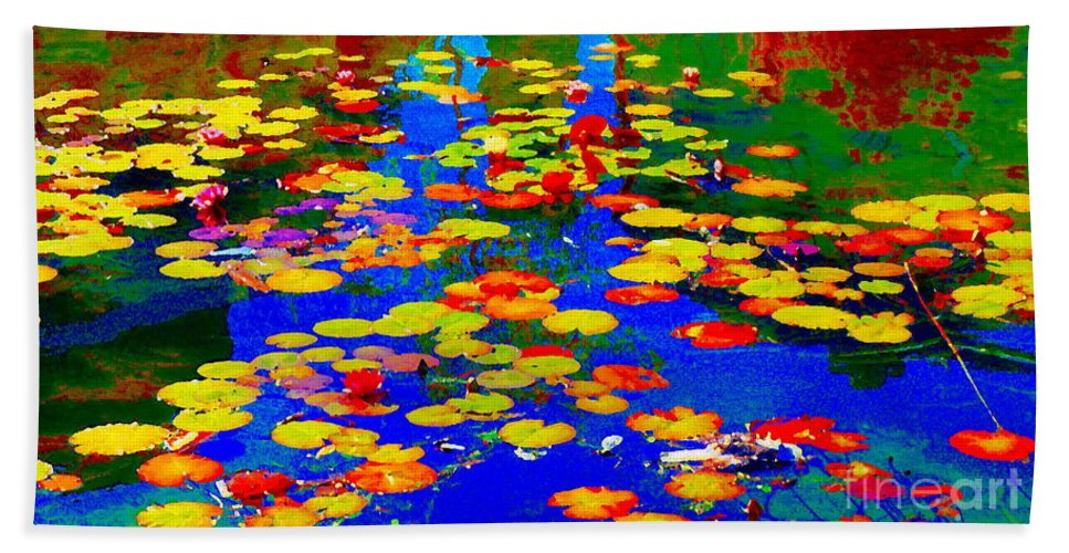 Water Lilies Beach Towel featuring the painting Lily Pads And Koi Pond Waterlilies Summer Gardens Beautiful Blue Waters Quebec Art Carole Spandau by Carole Spandau