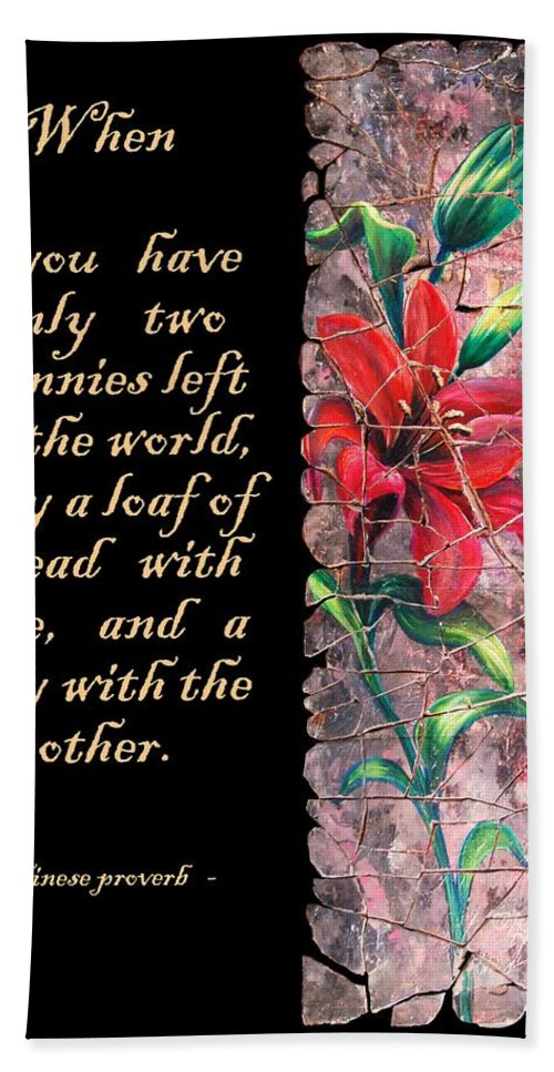 Lily Beach Towel featuring the painting Lily Quote by OLena Art Lena Owens