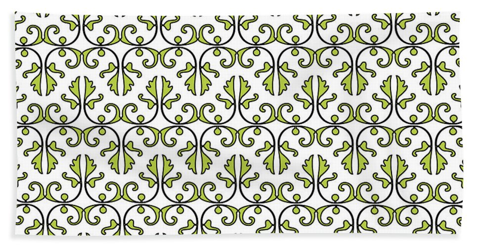 Leaf Beach Towel featuring the digital art Lime Green And White Vines by Jackie Farnsworth