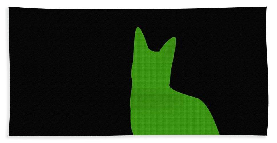 Green Cat On Black Background Beach Towel featuring the digital art Lime Green Cat On Black Background by Barbara Griffin