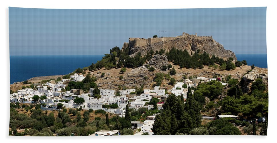 The Island Of Rhodes Beach Towel featuring the photograph Lindos Acropolis Looking Seaward by Lorraine Devon Wilke