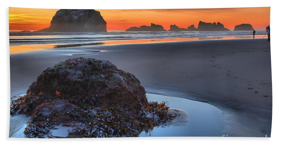 Bandon Beach Beach Towel featuring the photograph Lining Up For The Shot by Adam Jewell