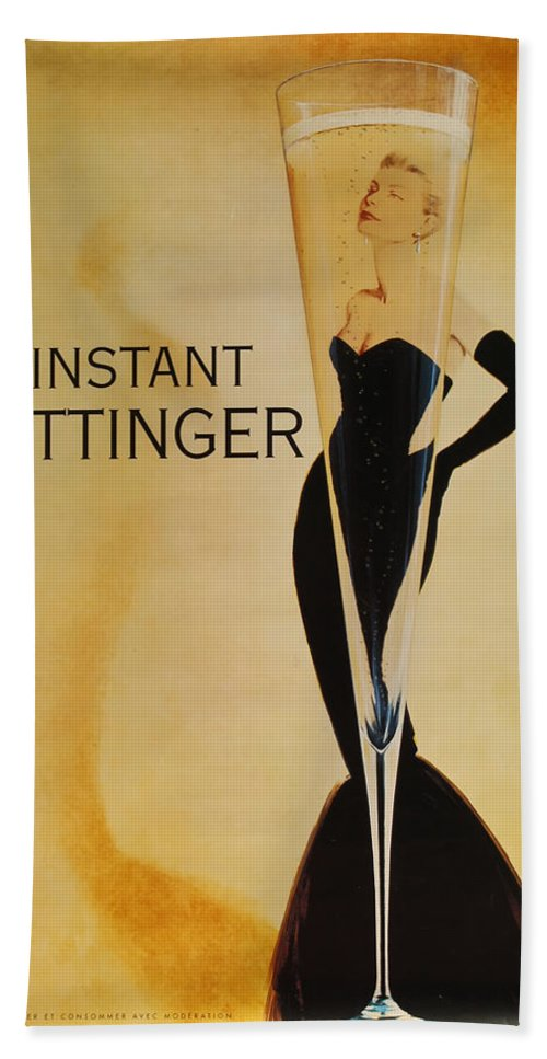 L'instant Taittanger Beach Towel featuring the digital art L'Instant Taittinger by Georgia Fowler