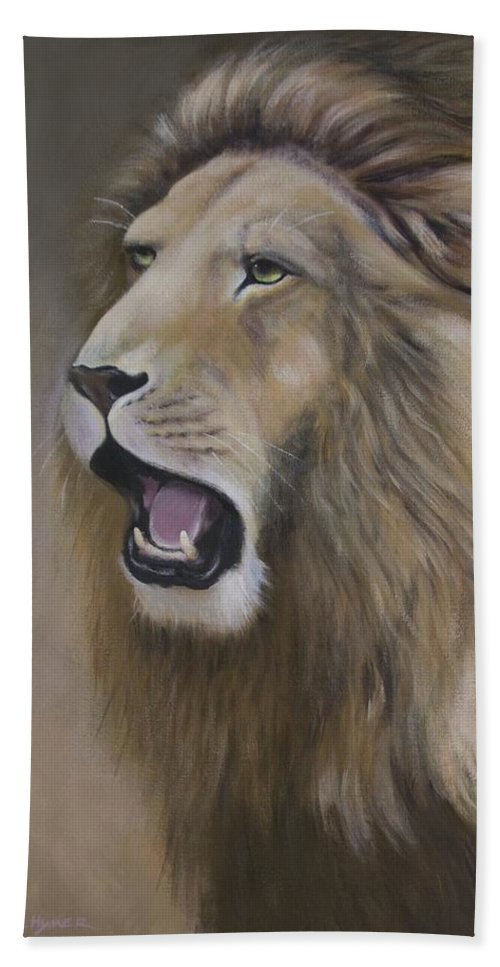 Lion Beach Towel featuring the painting Lion by Barbara Hymer