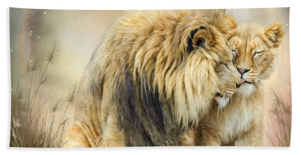 Lion Beach Towel featuring the mixed media Lion Kiss by Carol Cavalaris