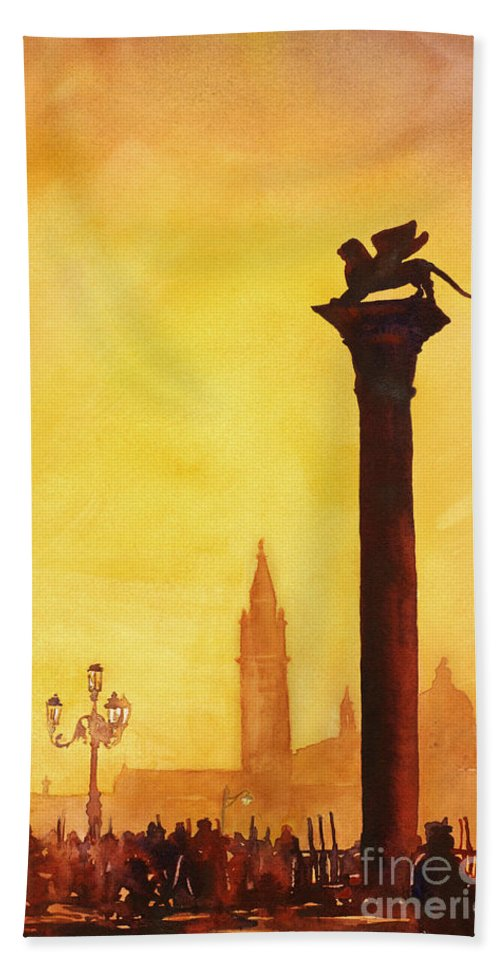 Statue Beach Towel featuring the painting Lion Of San Marco Sunset by Ryan Fox