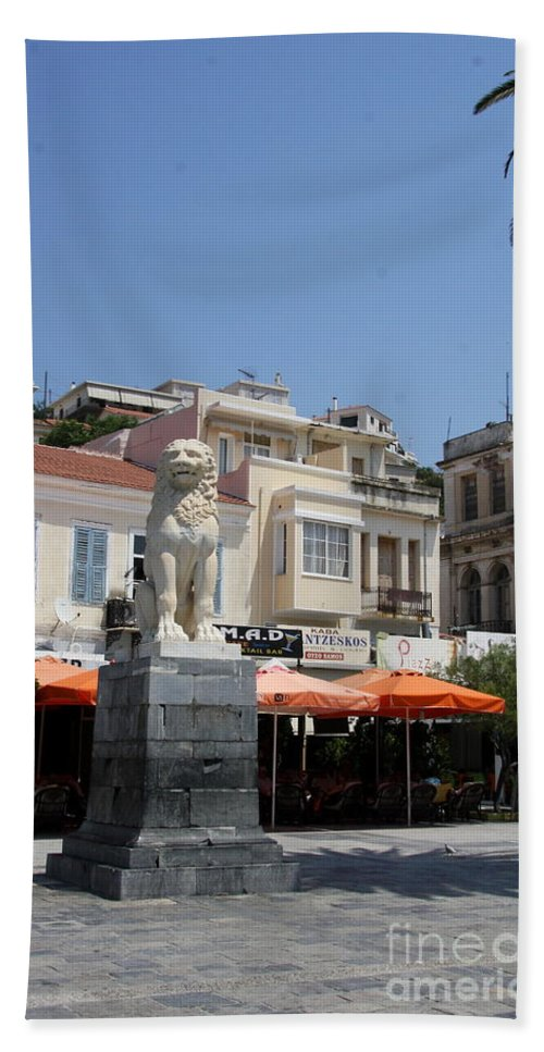 Lion Beach Towel featuring the photograph Lion Place Of Samos by Christiane Schulze Art And Photography