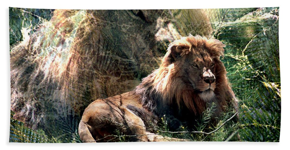 Lion Beach Towel featuring the digital art Lion Spirit by Lisa Yount