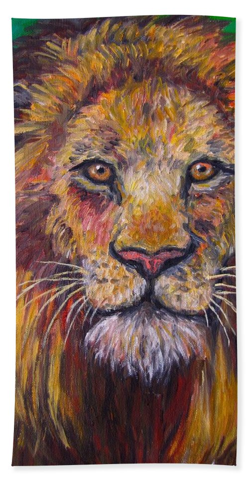 Lion Beach Towel featuring the painting Lion Stare by Kendall Kessler