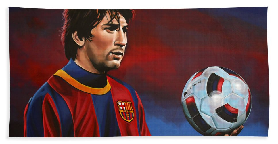Lionel Messi Beach Towel featuring the painting Lionel Messi 2 by Paul Meijering