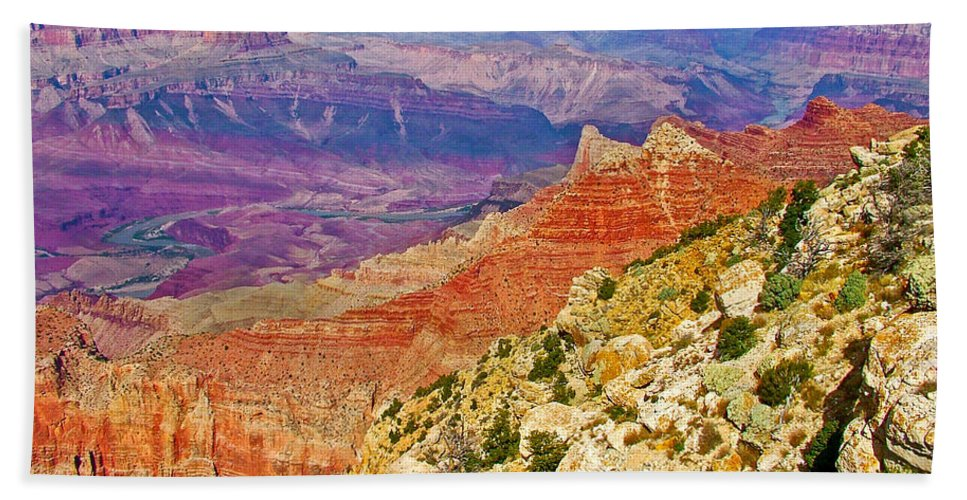 Lipan Point View On East Side Of South Rim Of Grand Canyon Beach Towel featuring the photograph Lipan Point View On East Side Of South Rim Of Grand Canyon-arizona  by Ruth Hager