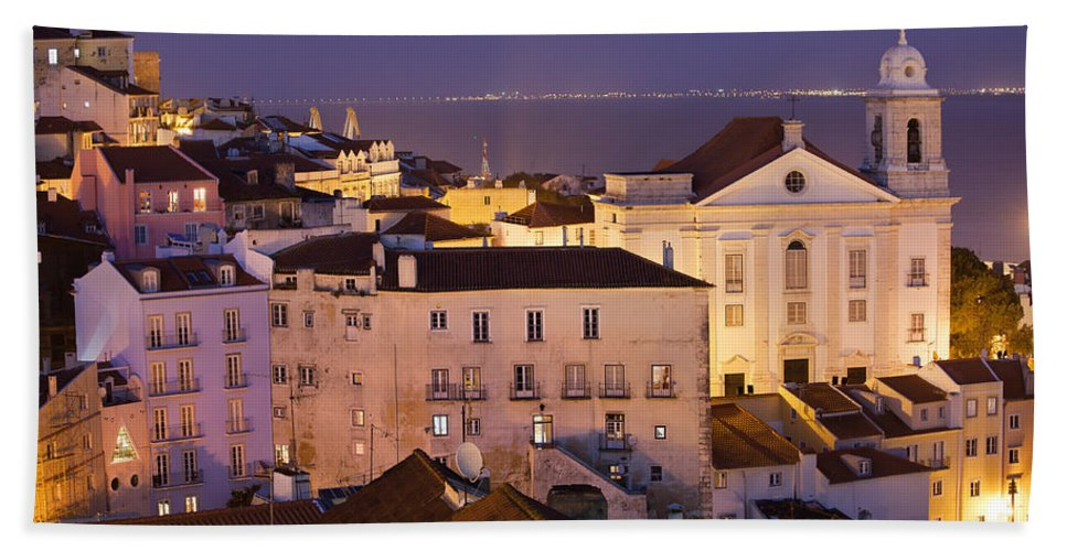 Lisbon Beach Towel featuring the photograph Lisbon At Night In Portugal by Artur Bogacki