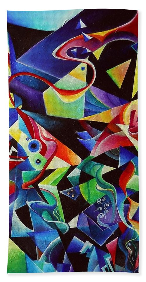Arnold Schoenberg Piano Concert No.1 Acrylic Abstract Pens Music Beach Towel featuring the painting listening to piano concert op.42 of Arnold Schoenberg by Wolfgang Schweizer