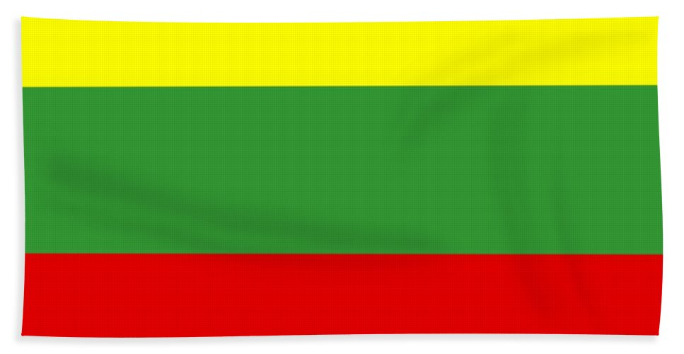 Lithuania Beach Towel featuring the digital art Lithuania Flag by Frederick Holiday