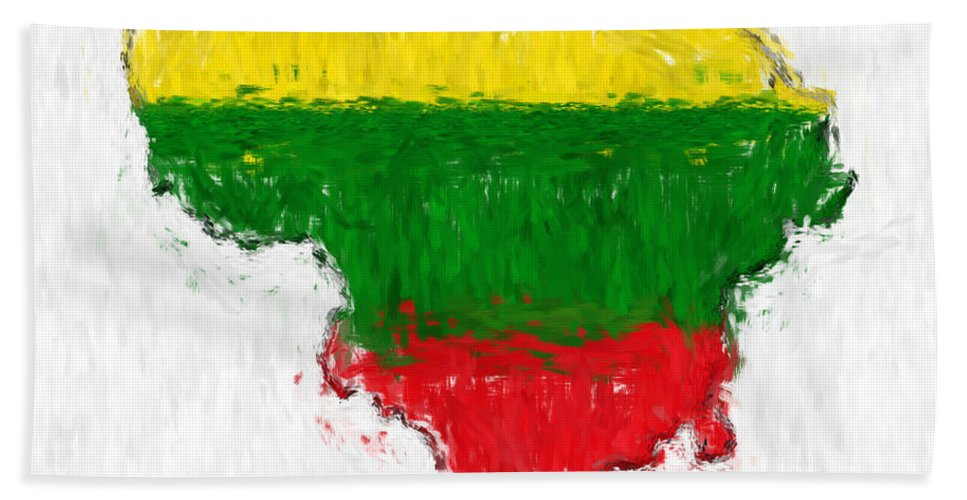 Lithuania Beach Towel featuring the photograph Lithuania Painted Flag Map by Antony McAulay