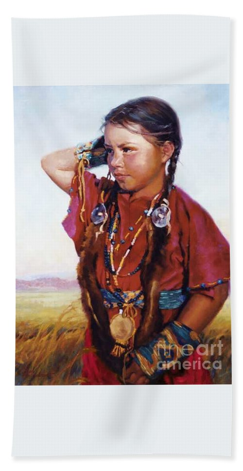 Indian Beach Towel featuring the painting Little American Beauty II by Jean Hildebrant