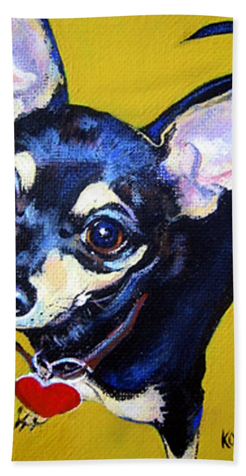 Chihuahua Beach Towel featuring the painting Little Bitty Chihuahua by Rebecca Korpita
