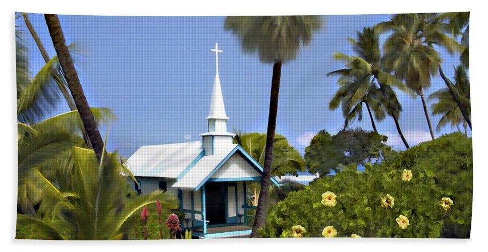 Hawaii Beach Sheet featuring the photograph Little Blue Church Kona by Kurt Van Wagner