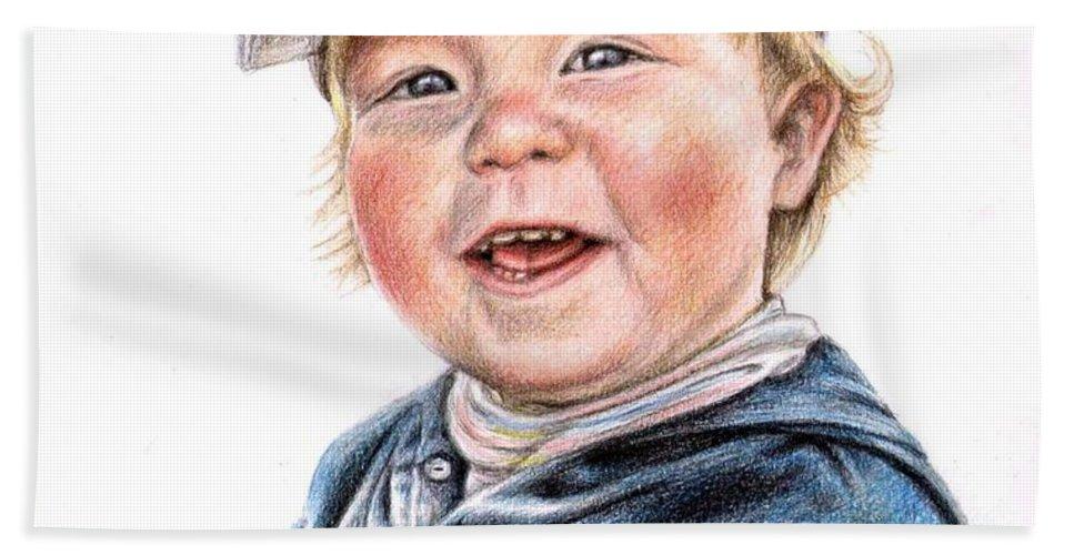 Boy Beach Sheet featuring the drawing Little Boy by Nicole Zeug