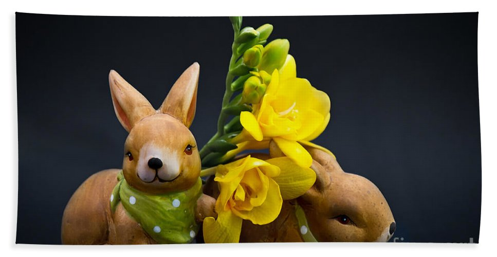 Rabbits Beach Towel featuring the photograph Little Bunny by Angela Doelling AD DESIGN Photo and PhotoArt