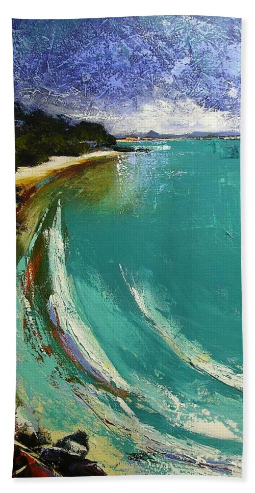 Little Cove Noosa Heads Abstract Palette Knife Seascape Painting Beach Sheet