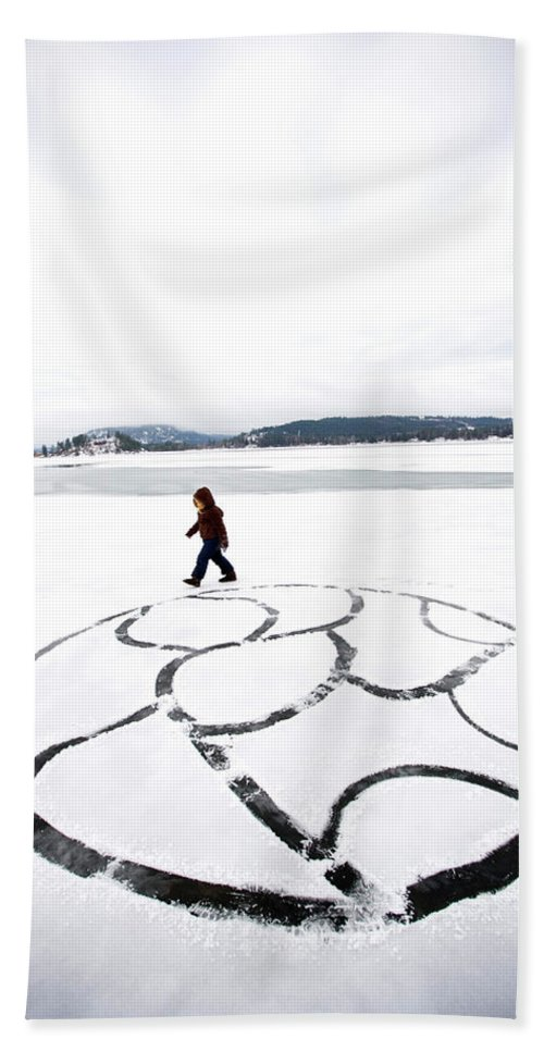 Child Beach Towel featuring the photograph Little Girl Walking Around Large Design by Woods Wheatcroft