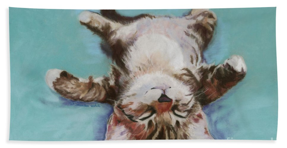 Cat Painting Beach Towel featuring the pastel Little Napper by Pat Saunders-White