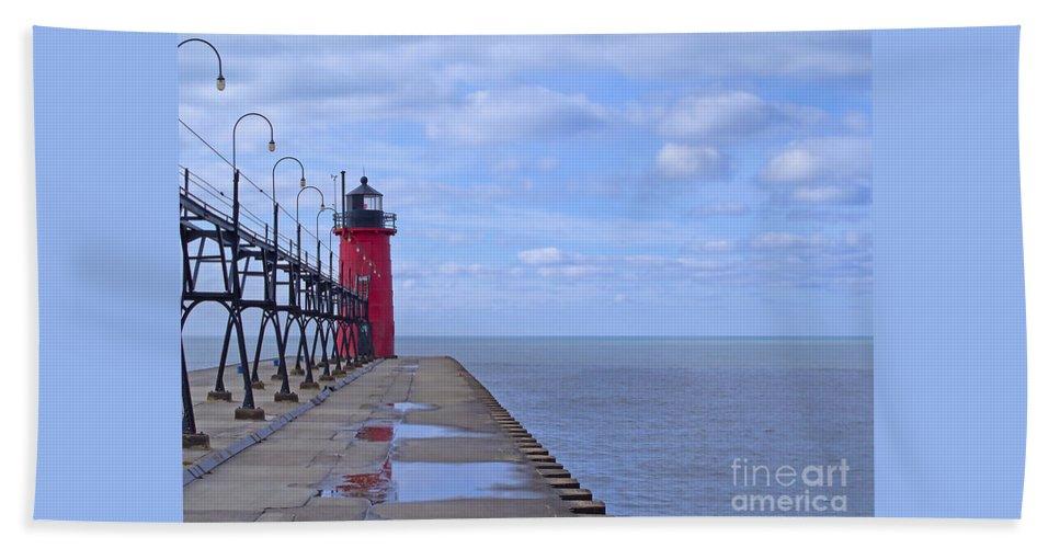 Lighthouse Beach Towel featuring the photograph Little Red Light by Ann Horn