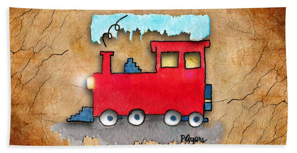 Watercolor Beach Towel featuring the painting Little Red Train by Paula Ayers