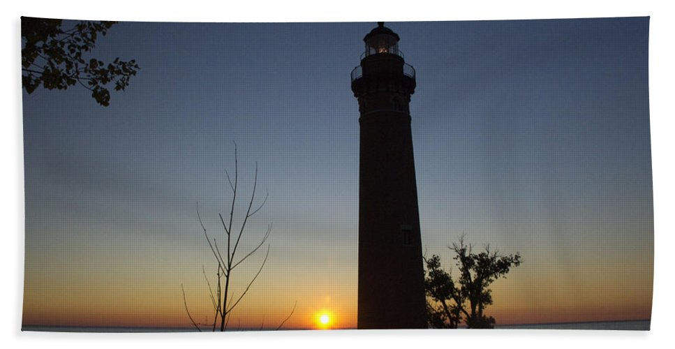 Art Beach Towel featuring the photograph Little Sable Lighthouse At Sunset by Randall Nyhof