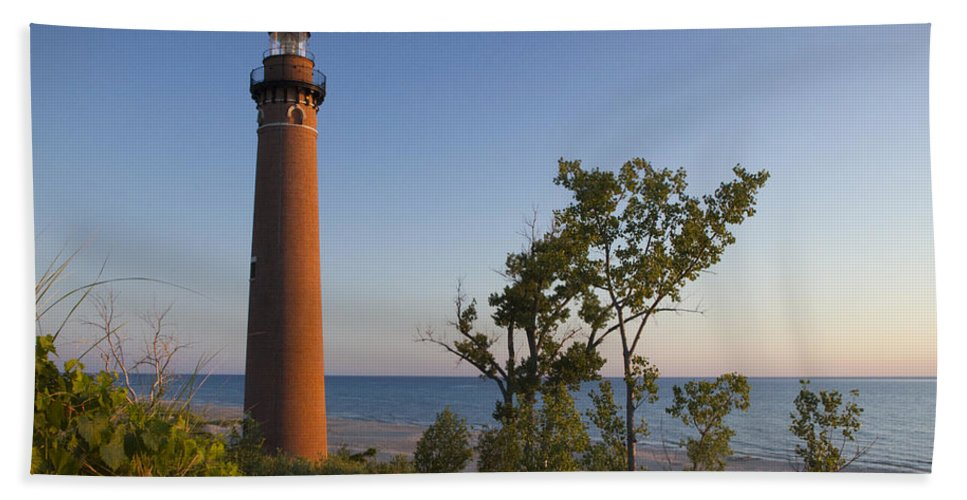 Art Beach Towel featuring the photograph Little Sable Lighthouse By The Shore by Randall Nyhof