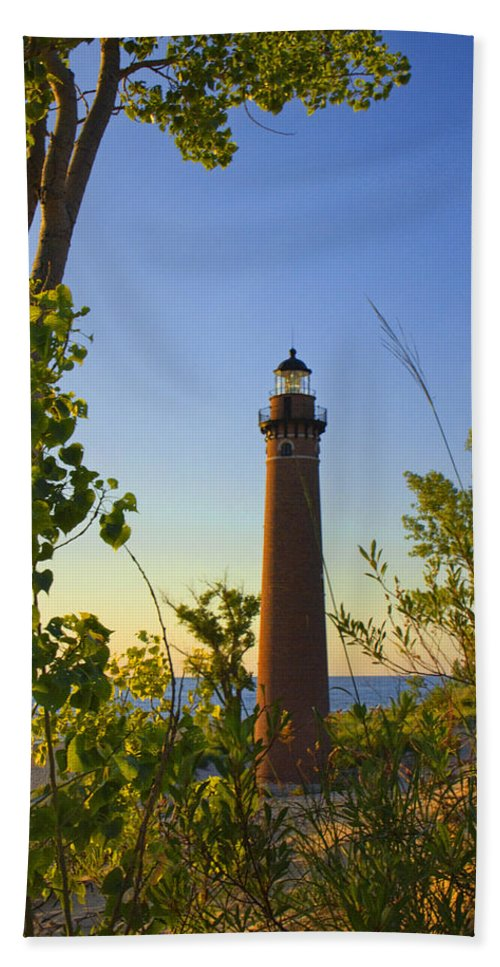 Art Beach Towel featuring the photograph Little Sable Lighthouse Seen Through The Trees by Randall Nyhof