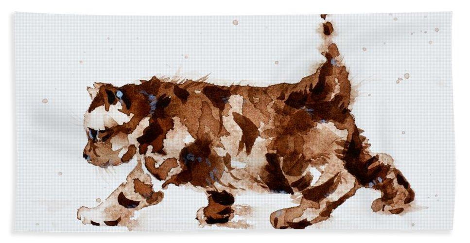 Cat Beach Towel featuring the painting Little Tiger by Zaira Dzhaubaeva