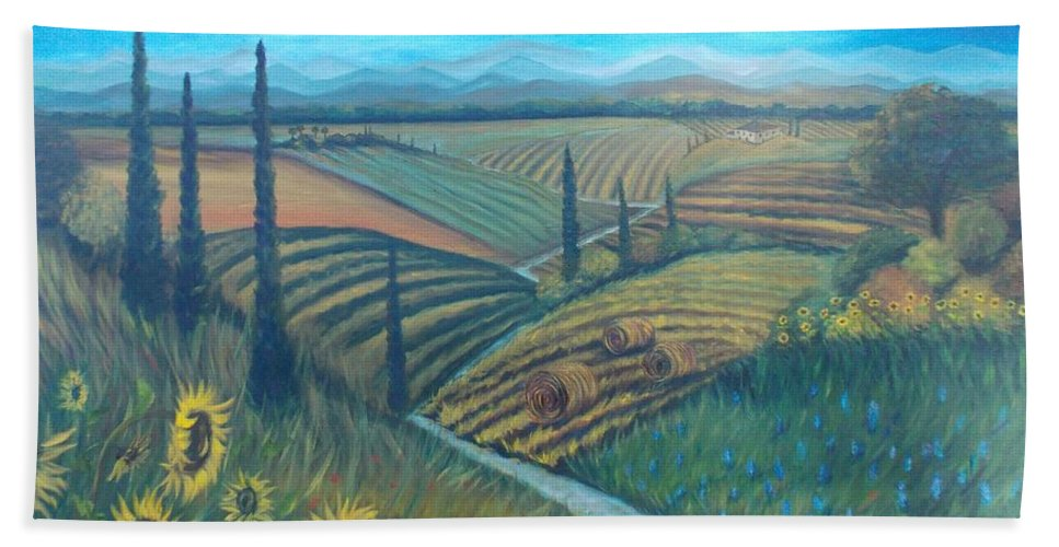 Landscape Beach Towel featuring the painting Little Tuscany by Julie Cranfill