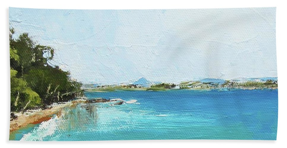 Seascape Beach Towel featuring the painting Litttle Cove Beach Noosa Heads Queensland Australia by Chris Hobel