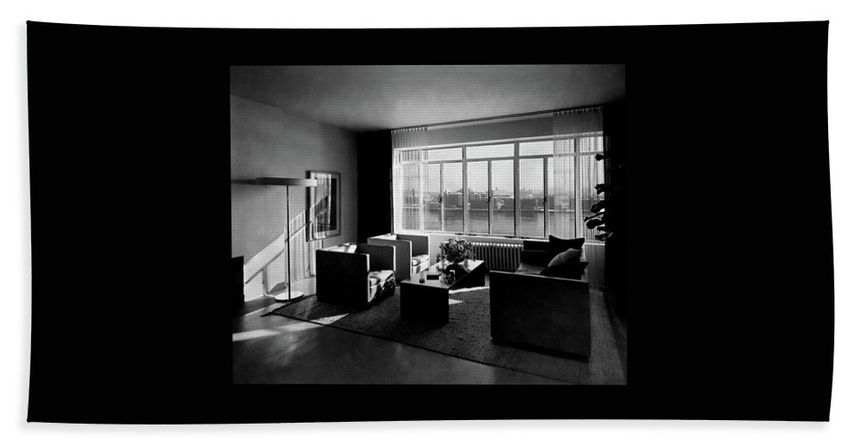 Cityscape Beach Towel featuring the photograph Living Room In The Ny Home Of Edward M. M by Emelie Danielson