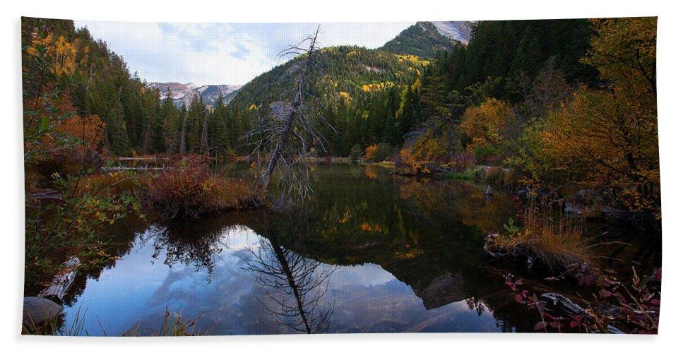 Autumn Colors; Canvas Prints Beach Towel featuring the photograph Lizard Lake by Jim Garrison
