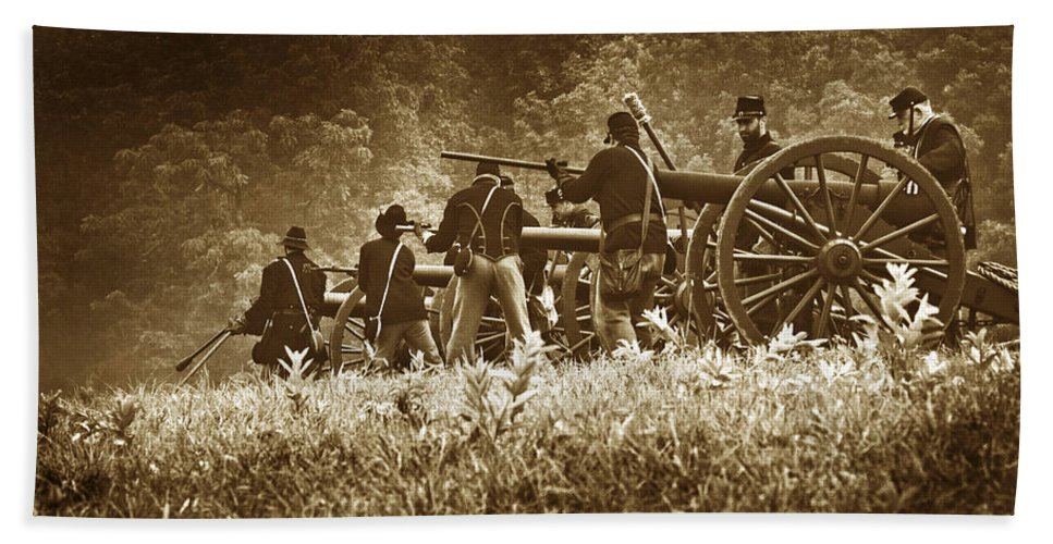 Civil War Beach Towel featuring the photograph Loading A Charge - Toned by Paul W Faust - Impressions of Light
