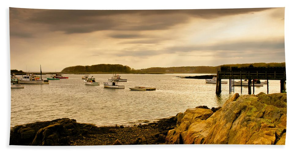 Atlantic Ocean Beach Towel featuring the photograph Lobster Boats Cape Porpoise Maine by Bob Orsillo