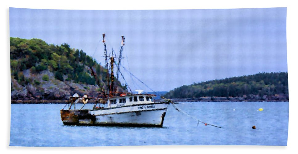 Boat Beach Towel featuring the photograph Trawling In Bar Harbor by Kristin Elmquist