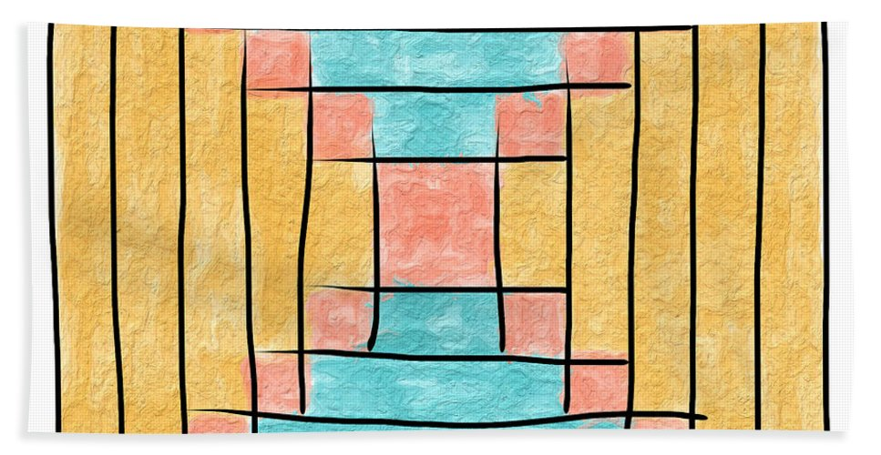 Quilt Block Beach Towel featuring the painting Log Cabin Variation - Retro Seafoam by Sandy MacGowan