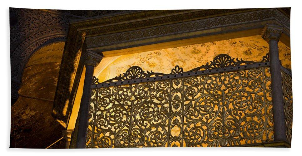 Hagia Beach Towel featuring the photograph Loge Of The Sultan In Hagia Sophia by Artur Bogacki