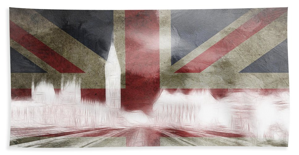 London Great Britain Big Ben Houses Of Parliament London Bridge Abstract British Flag Surreal Digital Art Expressionism Skyline City Cityscape Beach Towel featuring the painting London Big Ben Abstract by Steve K