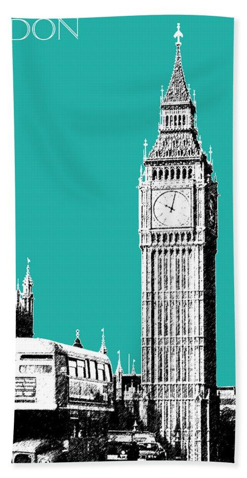 Architecture Beach Towel featuring the digital art London Skyline Big Ben - Teal by DB Artist