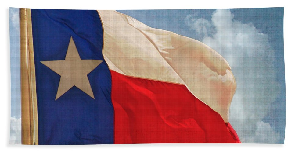 Texas State Flag Beach Towel featuring the photograph Lone Star Flag by Walter Herrit