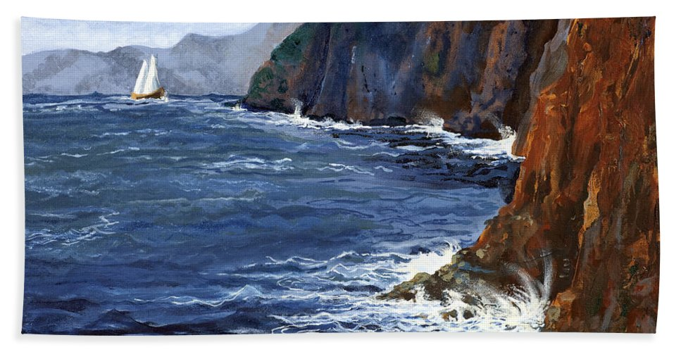 Landscape Beach Towel featuring the painting Lonely Schooner by Mary Palmer