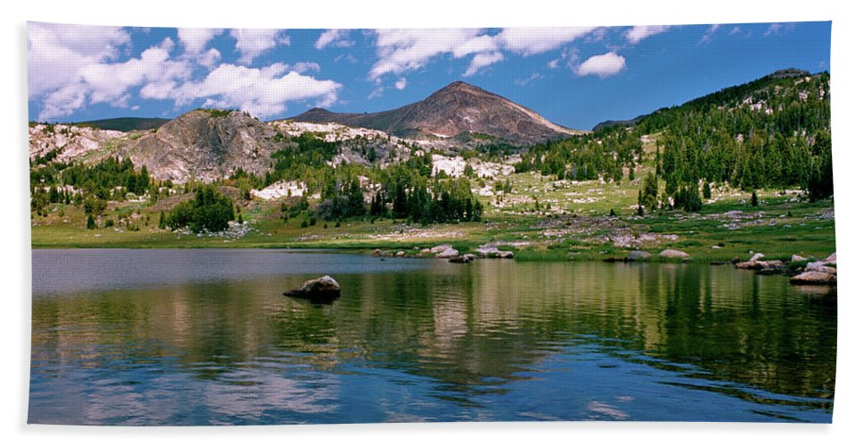 Lake Beach Towel featuring the photograph Long Lake Beartooth Pass by Ed Riche