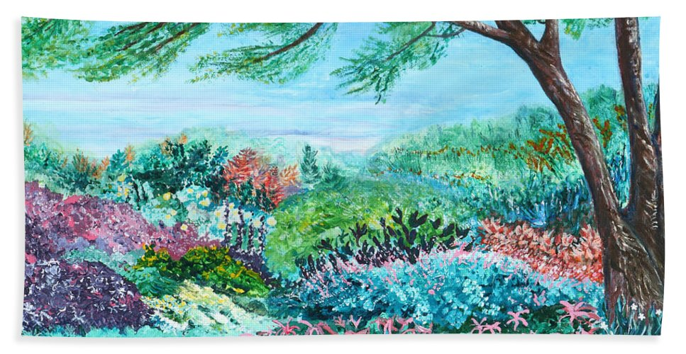 Longwood Beach Towel featuring the painting Longwood Gardens by Aine Khell